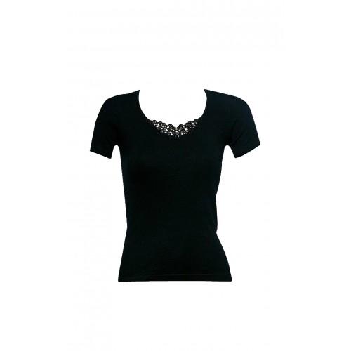 dc8c897dd Minerva Γυναικεία Φανέλα με κοντό μανίκι 2τεμ. Μαύρη - 92101-45 Γυναικεία