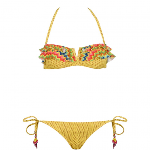 Bilitis Γυναικείο σετ μπικίνι - Κίτρινο με πολύχρωμες λεπτομέρειες -  Στράπλες - VM004 Μαγιό e2af6f0e3ac